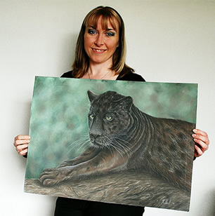 Karen Berisford, UK Artist delighted with her Jaguar pastel painting by NZ Karen Neal - an art exchange!