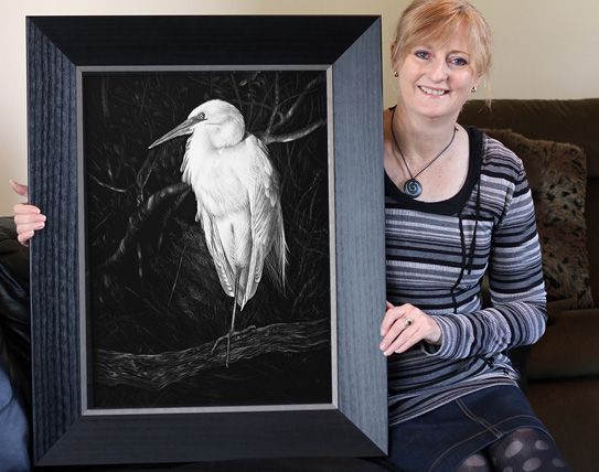 Okarito Kotuku white heron scratchboard art by New Zealand Wildlife Artist Karen Neal