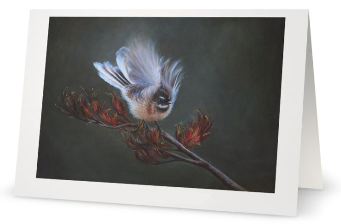 New Zealand Fantail bird fine art card by Artist Karen Neal