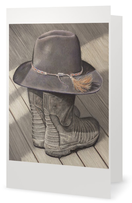 Gumboots and hat painting fine art card by artist Karen Neal