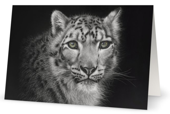 Himalayan Snow Leopard as a fine art card by wildlife artist Karen Neal