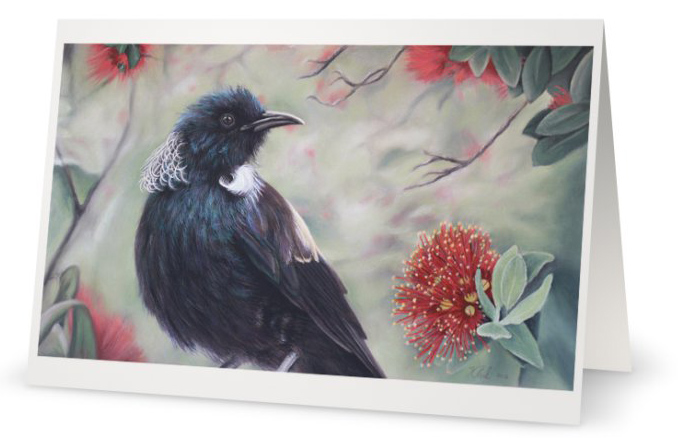 New Zealand Tui in Pohutukawa Tree Christmas Fine Art Greeting Card by Artist Karen Neal