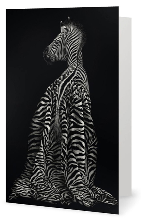 Zebra in a dress artwork by New Zealand artist Karen Neal fine art greeting card