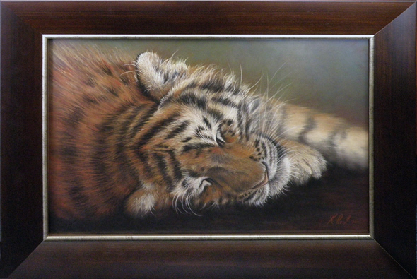 Tiger painting by wildlife artist Karen, judged into BBC Wildlife Artist of the Year finals 2011