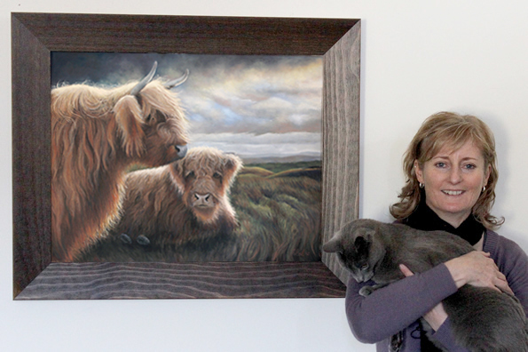 Highland cow painting in pastel with wildlife artist, New Zealander Karen Neal