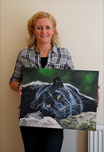New Zealand artist Karen Neal & UK artist Karen Berisford art exchange, Karen delighted with her leopardess