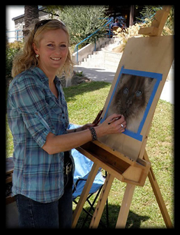 "Pet Portrait Artist Karen Neal at the Marlborough Pet Expo, painting ""Pippy"""