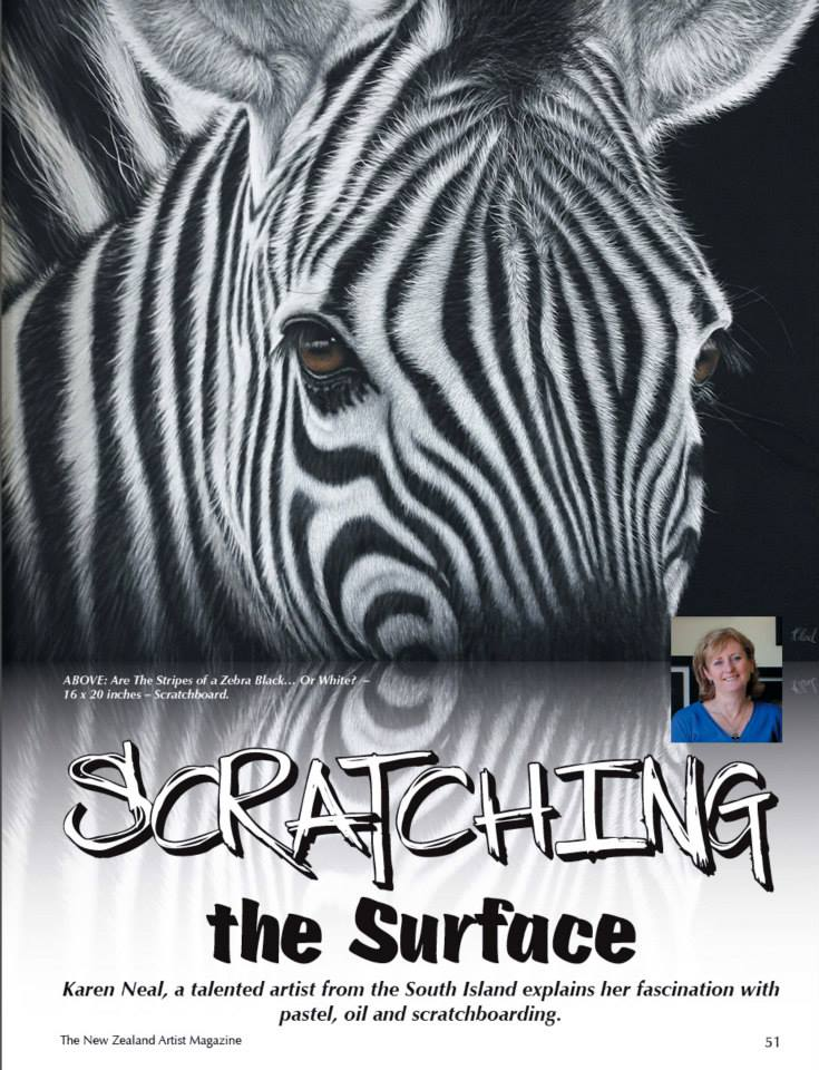 New Zealand Artist magazine feature scratchboard artist Karen Neal