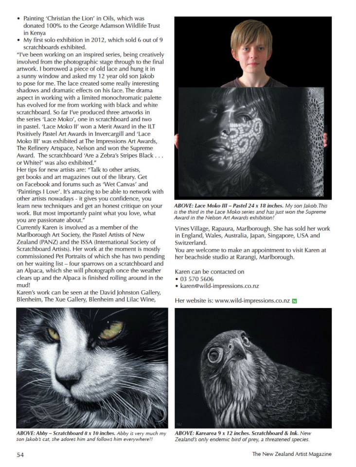 New Zealand Artist magazine article Karen Neal Impressions Nelson Award winner