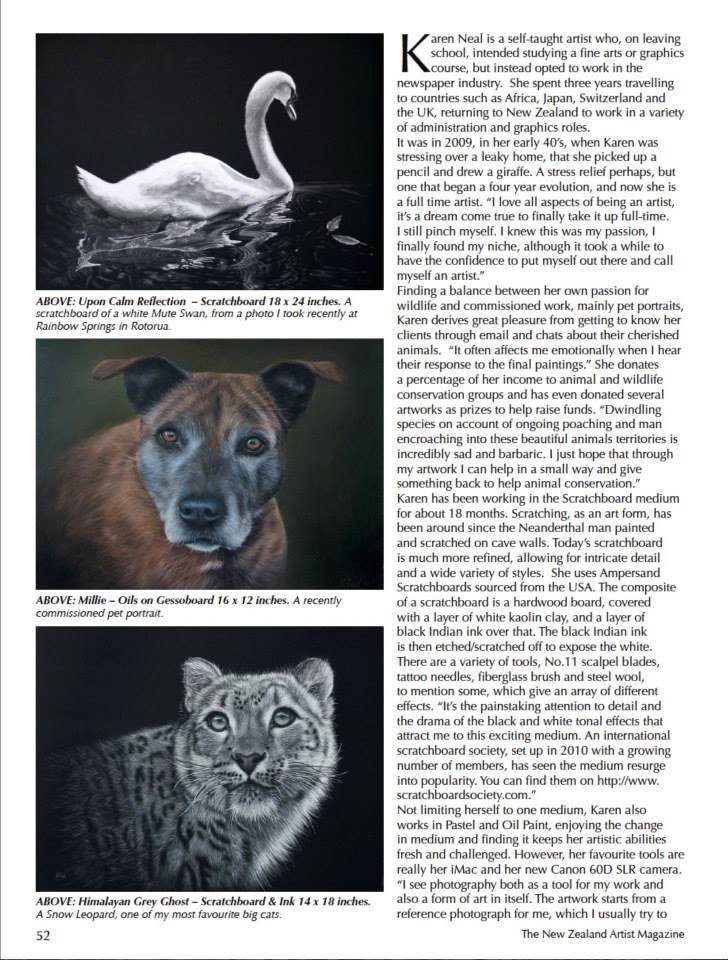 New Zealand Artist magazine article Karen Neal