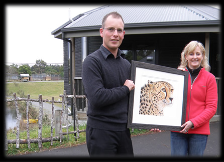 "Donating a gliclee print of ""Vigilance"" to Orana Wildlife Park"