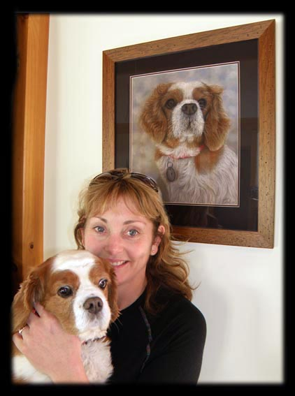 Pet portrait of Ruby with her owner Rachelle. Painting by artist Karen Neal