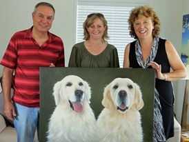 happy pet portrait clients