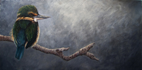 A New Zealand kingfisher painting by wildlife artist Karen Neal